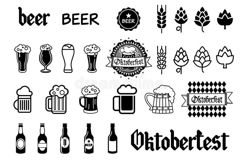 Os ícones do vetor da cerveja ajustaram - a garrafa, vidro, pinta ilustração royalty free