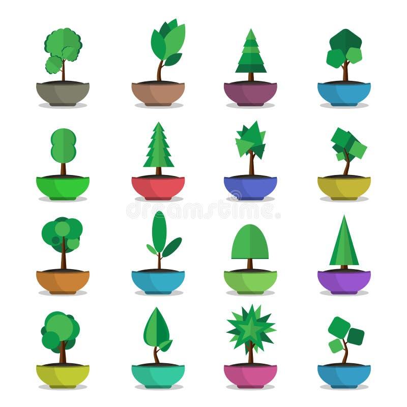 Os ícones do vetor das árvores dos bonsais ajustaram o estilo japonês ilustração stock