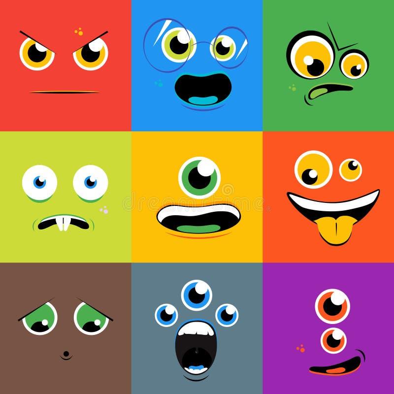 Os ícones do vetor das caras do monstro ajustaram-se no estilo liso ilustração do vetor