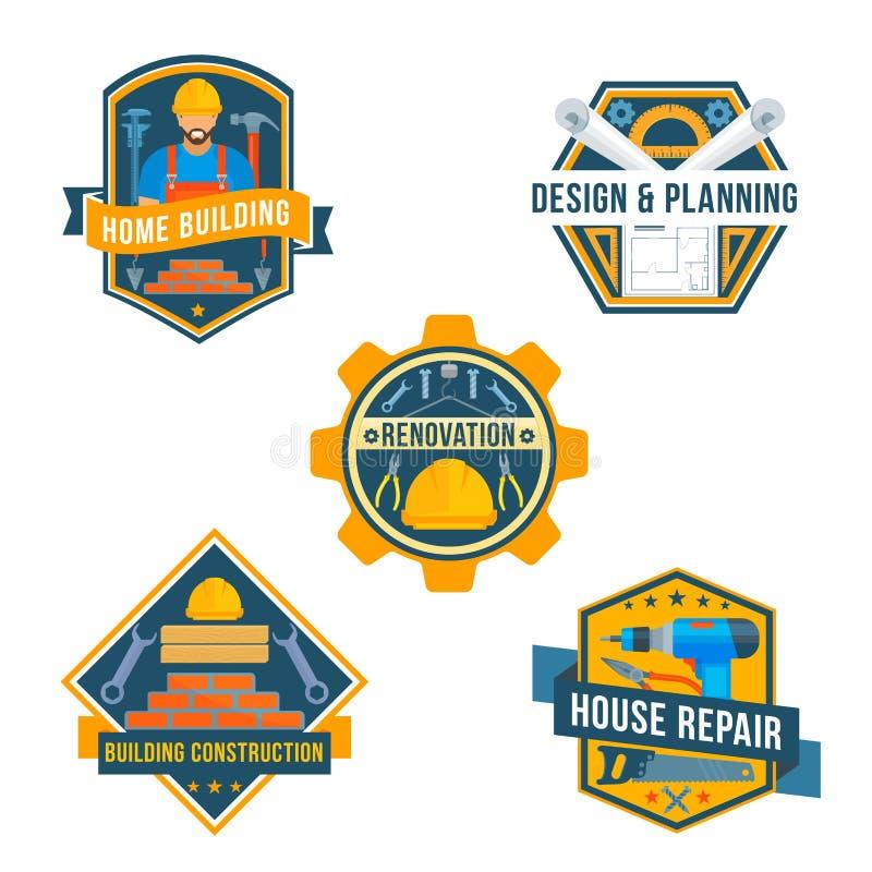 Os ícones do vetor das ferramentas do trabalho para o reparo da casa projetam ilustração royalty free