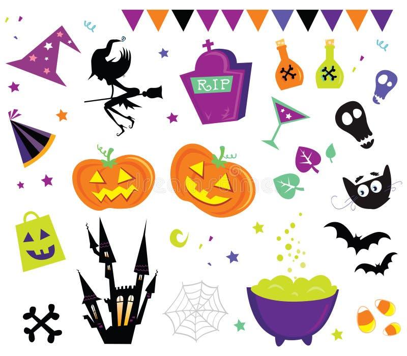 Os ícones do vetor de Halloween ajustaram III ilustração stock