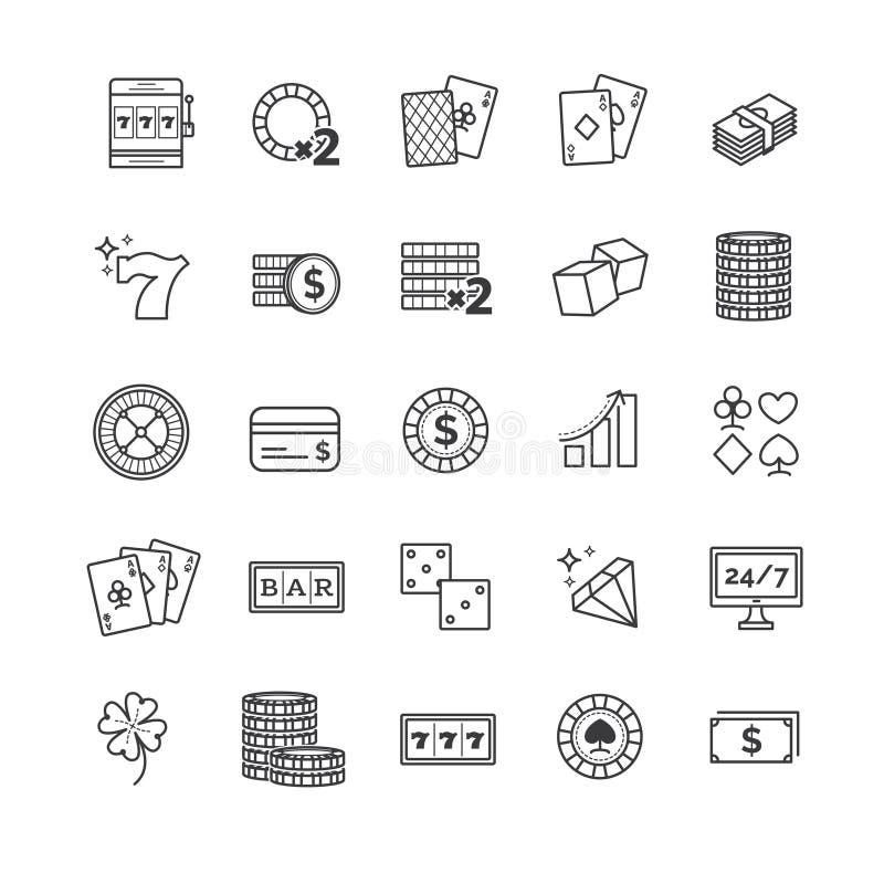 Os ícones do vetor do esboço ajustaram - o casino, jogando, jogo de pôquer ilustração stock