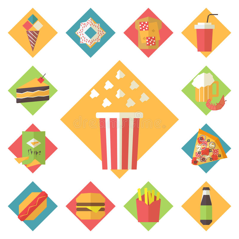 Os ícones do vetor do fast food ajustaram-se para o menu, café e ilustração stock