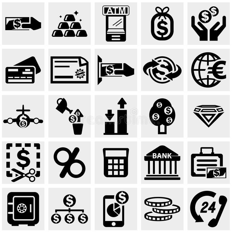 Os ícones do vetor do negócio & da finança ajustaram-se no cinza ilustração stock