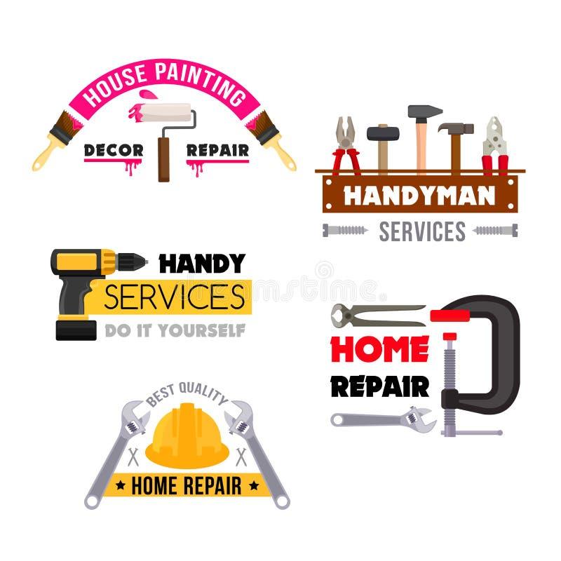 Os ícones do vetor do reparo da casa do trabalhador manual trabalham ferramentas ilustração royalty free