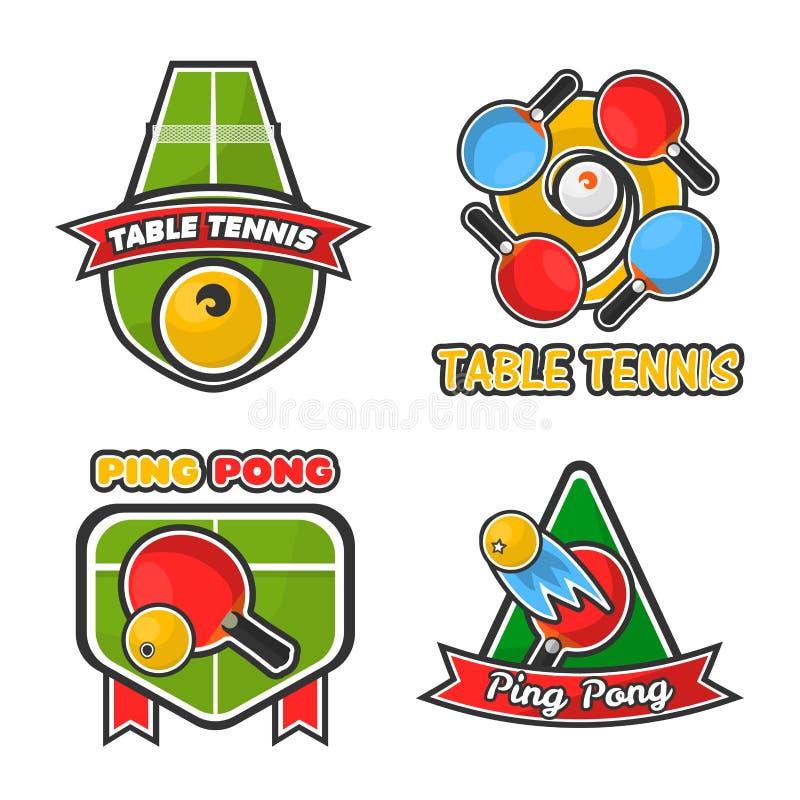 Os ícones do vetor do tênis de mesa do pong do sibilo ajustaram-se para o clube ou o competiam de esporte ilustração stock