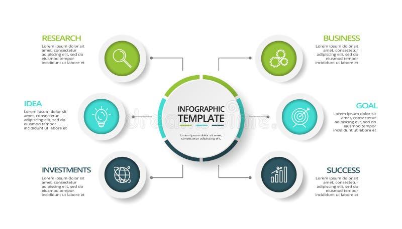 Os ícones do vetor e do mercado do projeto de Infographics podem ser usados para o diagrama Conceito do negócio com 6 opções, eta ilustração stock