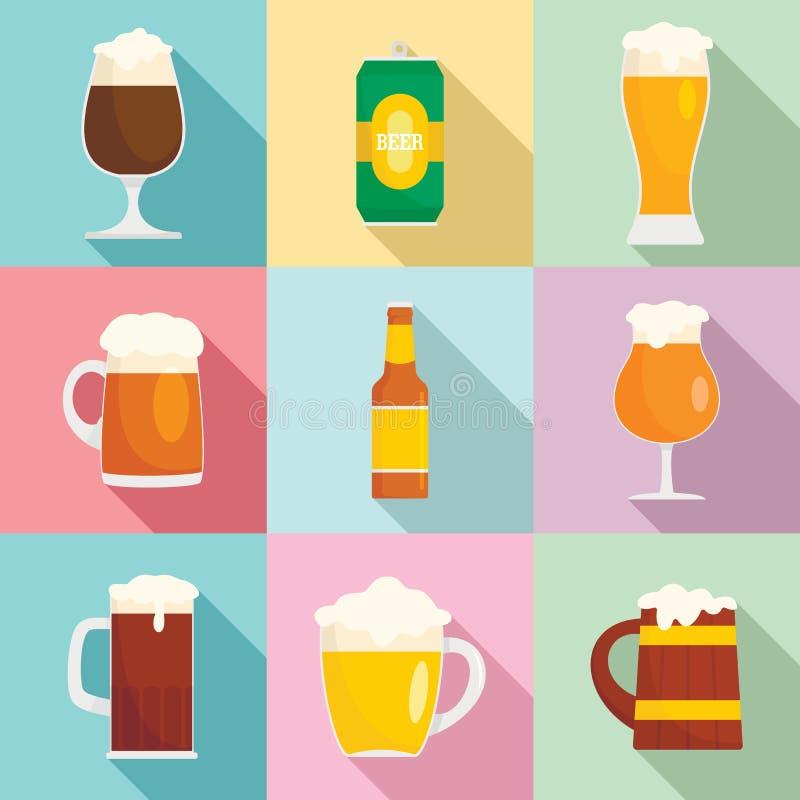 Os ícones do vidro de garrafas da cerveja ajustaram-se, estilo liso ilustração do vetor