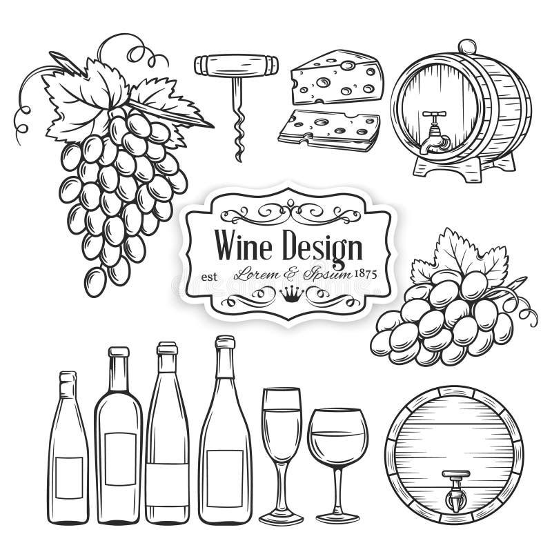 Os ícones do vinho da tração da mão do vetor ajustaram-se no branco ilustração do vetor