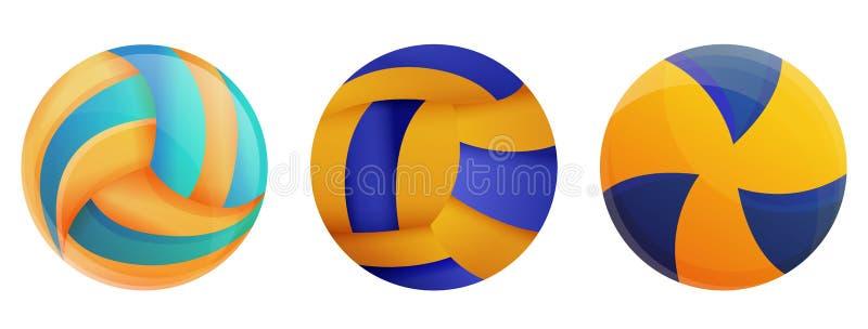 Os ícones do voleibol ajustaram-se, estilo dos desenhos animados ilustração stock