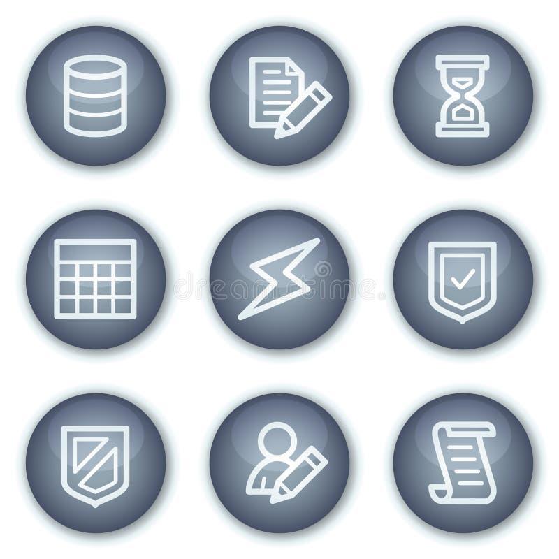 Os ícones do Web da base de dados, círculo mineral abotoam a série ilustração do vetor