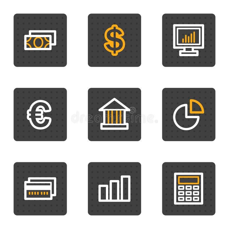 Os ícones do Web da finança, cinza abotoam a série ilustração stock