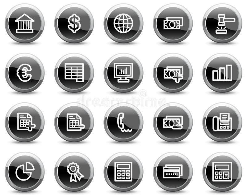 Os ícones do Web da operação bancária, círculo lustroso preto abotoam-se ilustração do vetor