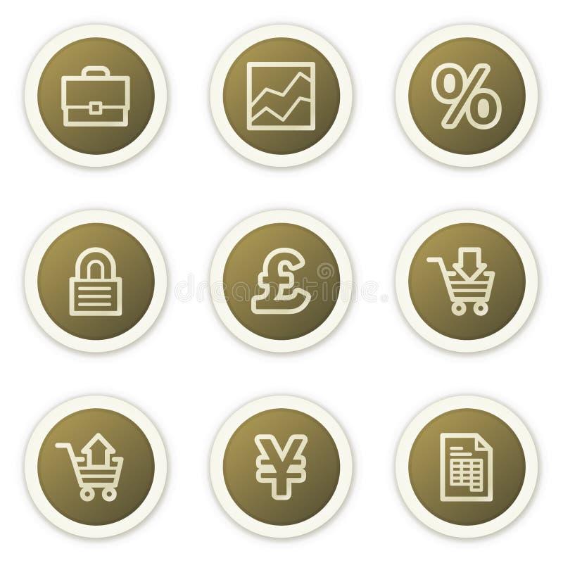 Os ícones do Web do comércio electrónico, círculo marrom abotoam a série ilustração royalty free