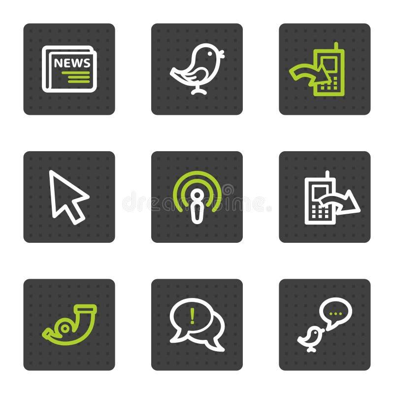 Os ícones do Web do Internet ajustaram 2, teclas quadradas cinzentas ilustração stock