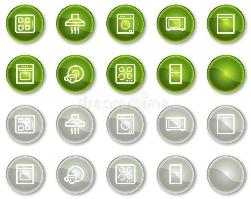 Os ícones do Web dos aparelhos electrodomésticos, círculo verde abotoam-se ilustração stock