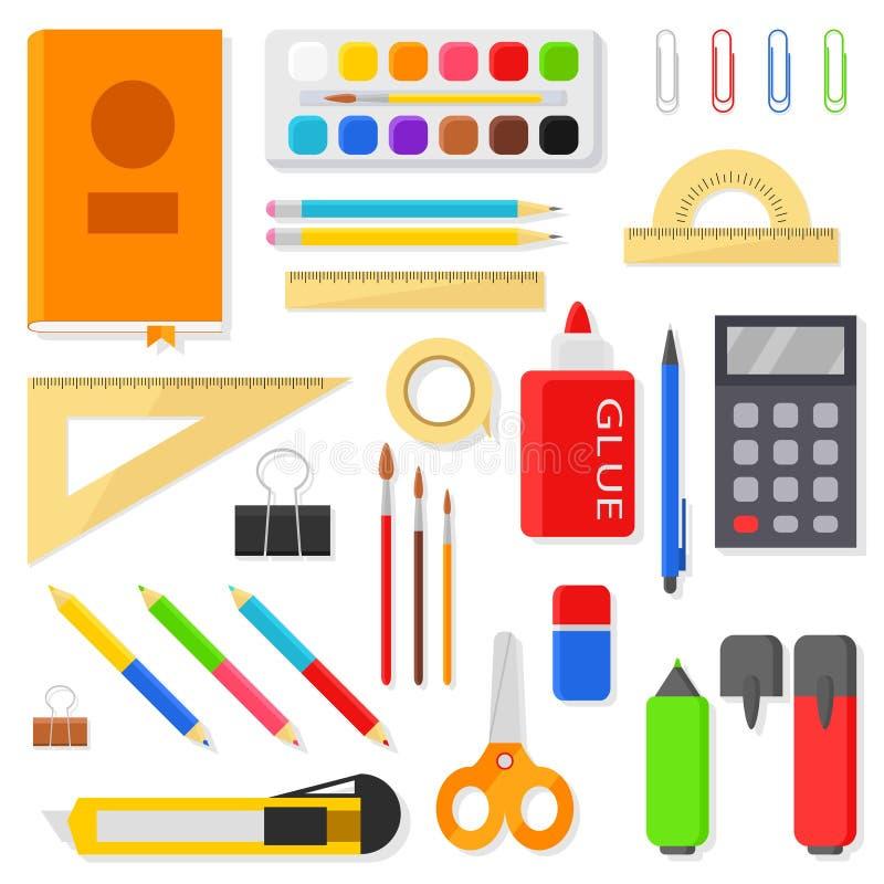 Os ícones dos artigos de papelaria ajustaram - réguas, penas, lápis, marcadores, escovas, pinturas, aquarela, calculadora e outro ilustração stock