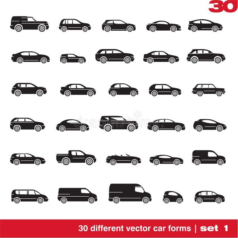 Os ícones dos carros ajustaram 1 ilustração royalty free