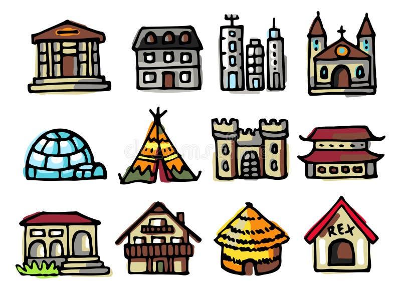 Os ícones dos edifícios ajustaram-se ilustração do vetor