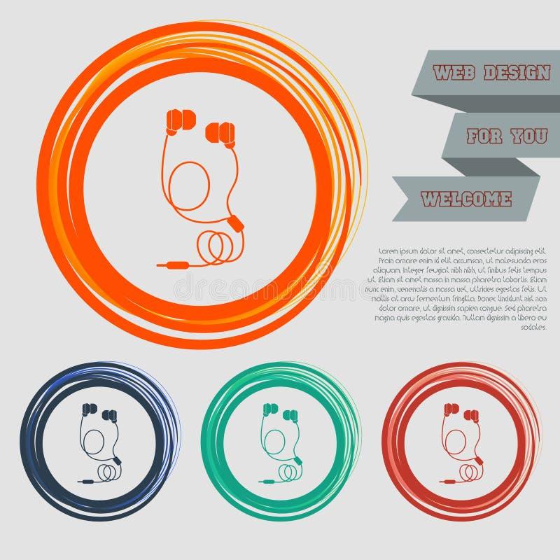 Os ícones dos fones de ouvido nos botões vermelhos, azuis, verdes, alaranjados para seu Web site e no projeto com espaço text ilustração royalty free