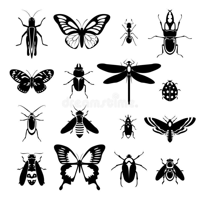 Os ícones dos insetos ajustaram-se preto e branco ilustração do vetor
