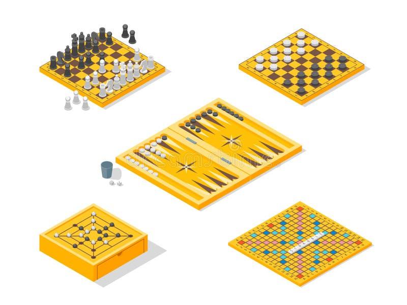 Os ícones dos jogos de mesa ajustaram a vista isométrica Vetor ilustração royalty free