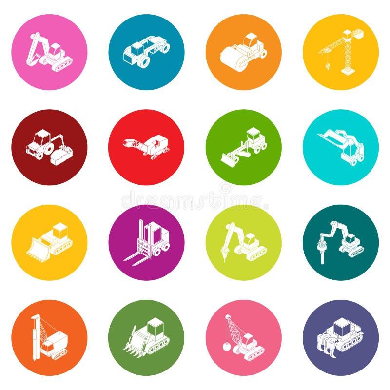 Os ícones dos materiais de construção ajustaram o vetor colorido dos círculos ilustração do vetor