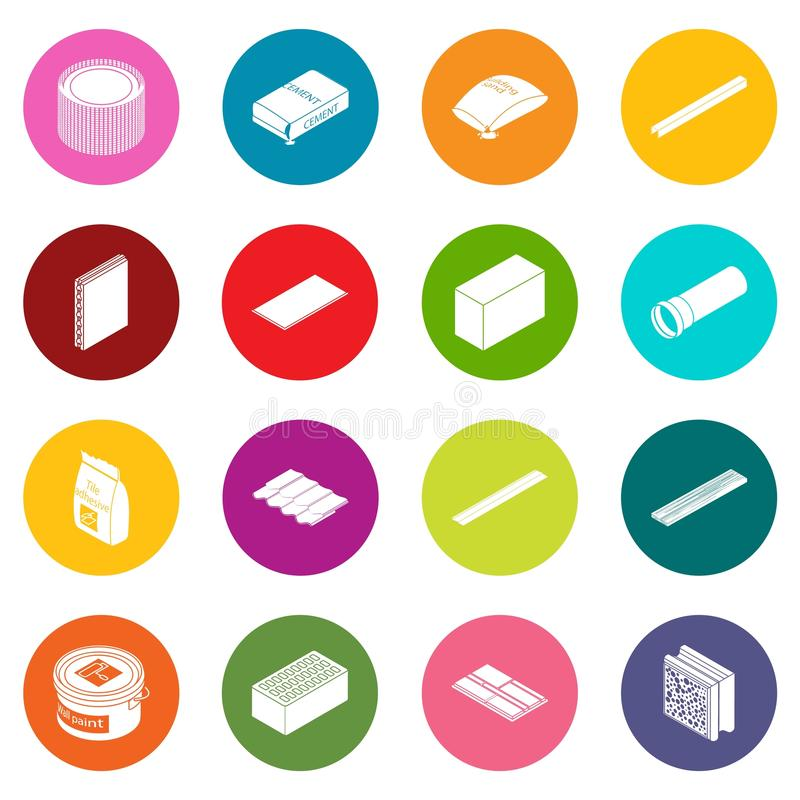 Os ícones dos materiais de construção ajustaram o vetor colorido dos círculos ilustração royalty free