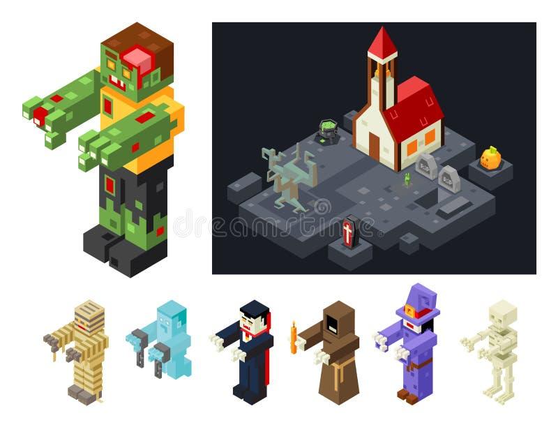 Os ícones dos monstro de Dia das Bruxas ajustados maldizem a ilustração isométrica do vetor do jogo 3d do projeto liso mau ilustração royalty free