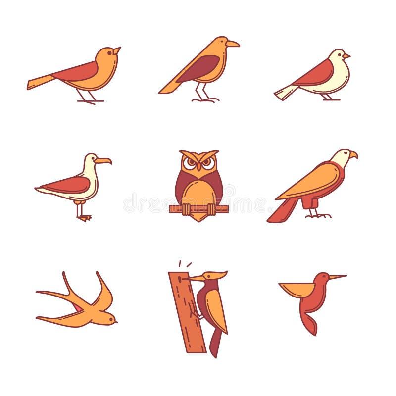 Os ícones dos pássaros diluem a linha grupo ilustração royalty free