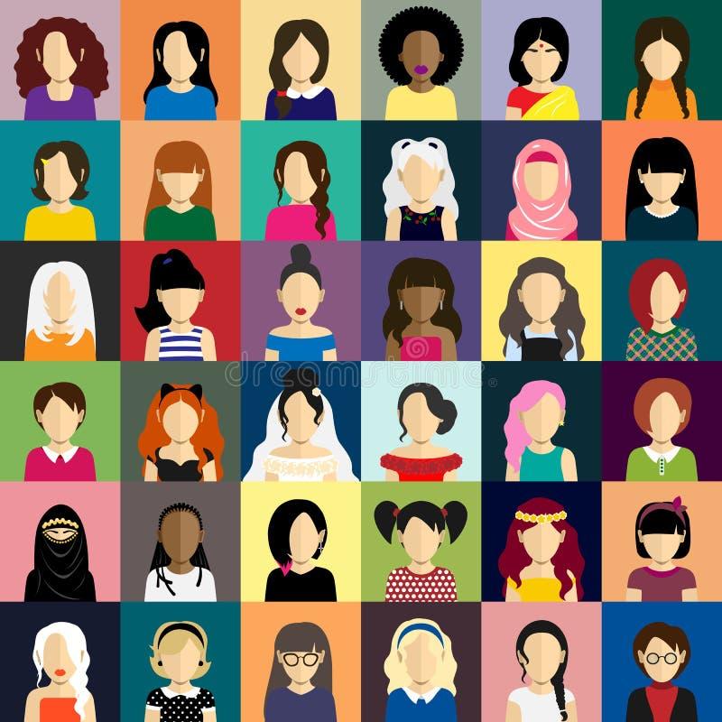 Os ícones dos povos ajustaram-se no estilo liso com as caras das mulheres fotografia de stock royalty free