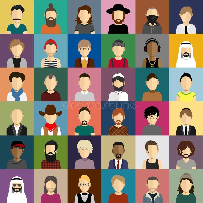 Os ícones dos povos ajustaram-se no estilo liso com as caras dos homens fotos de stock