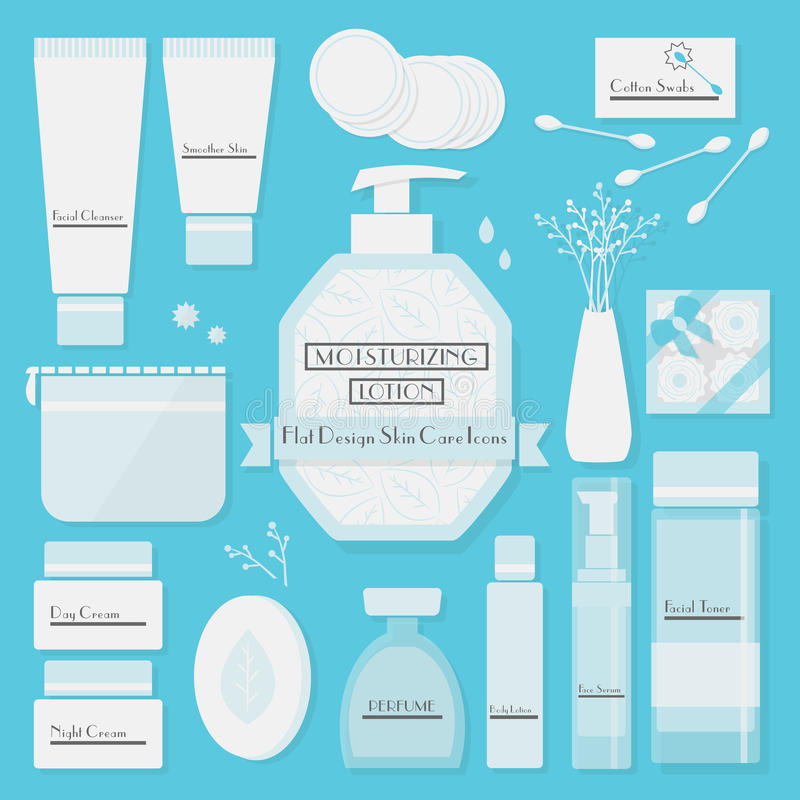 Os ícones dos produtos de cuidados de pele ajustaram-se no fundo azul ilustração do vetor