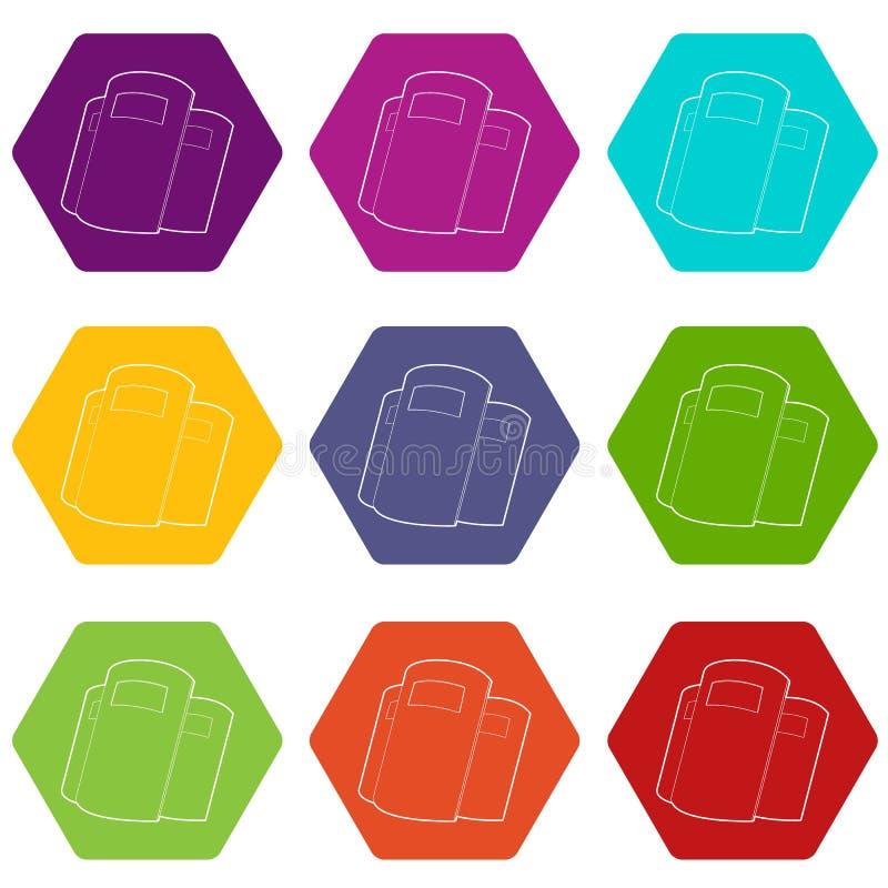Os ícones dos protetores da polícia ajustaram o vetor 9 ilustração stock