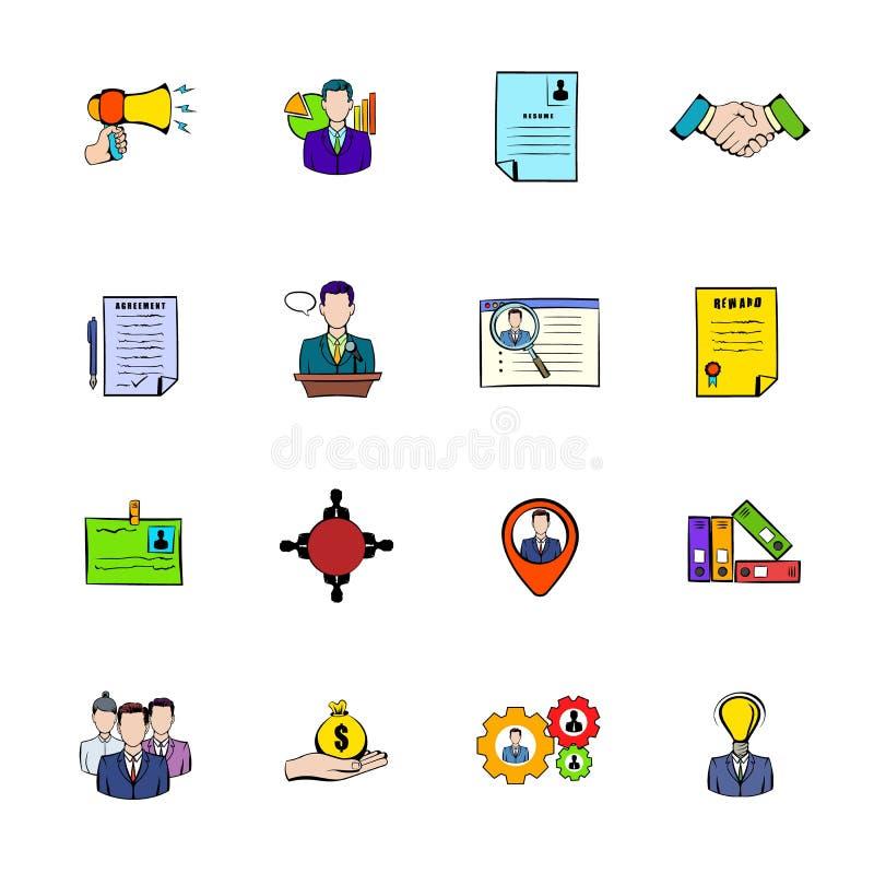 Os ícones dos recursos humanos ajustaram desenhos animados ilustração royalty free