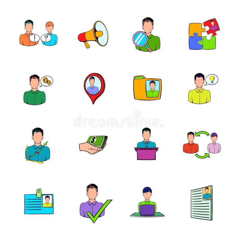 Os ícones dos recursos humanos ajustaram desenhos animados ilustração stock