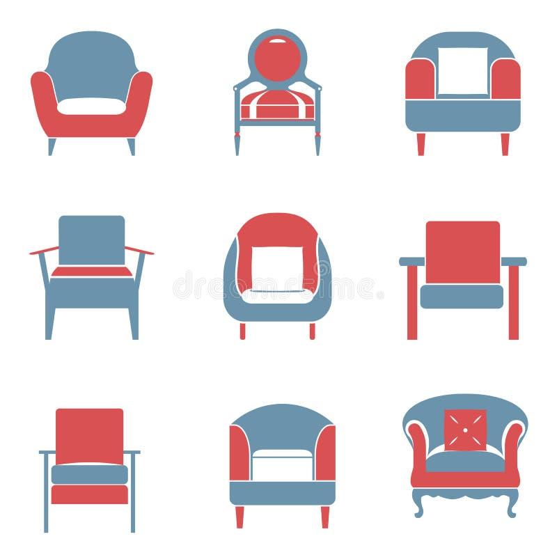 Os ícones dos sofás ajustaram Duotone ilustração royalty free