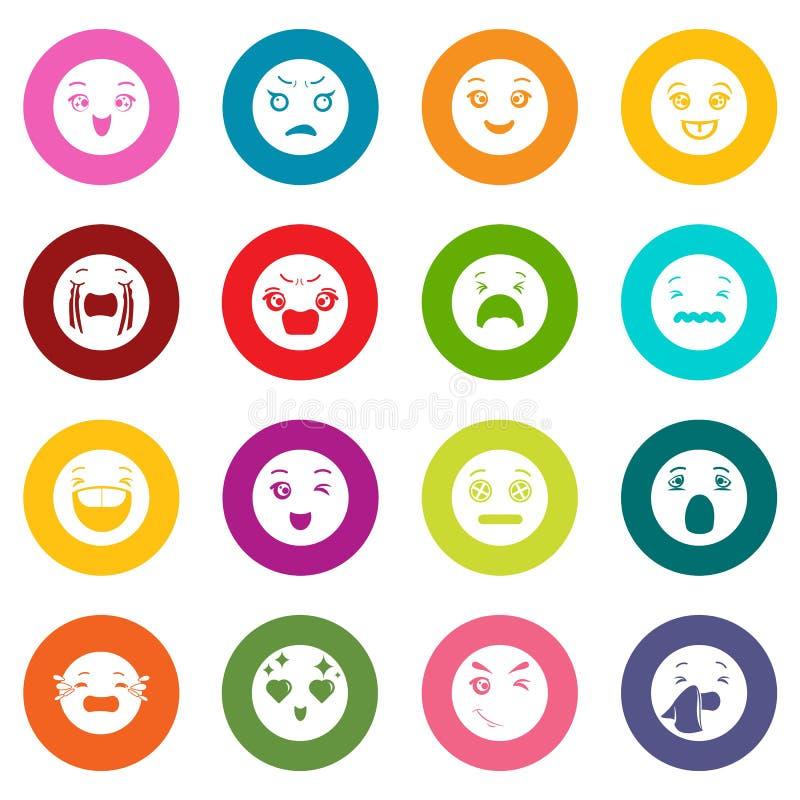 Os ícones dos sorrisos ajustaram o vetor colorido dos círculos ilustração royalty free