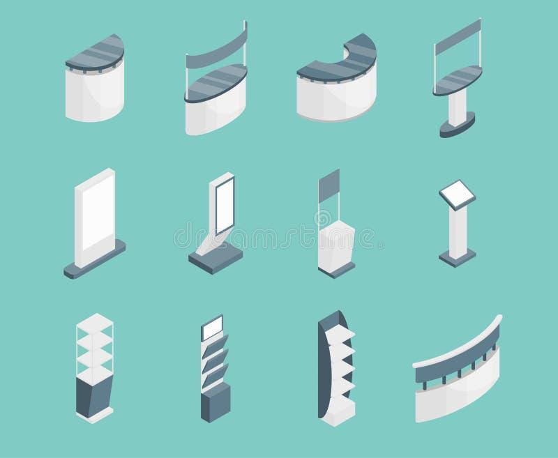 Os ícones dos suportes 3d da exposição ajustaram a vista isométrica Vetor ilustração stock