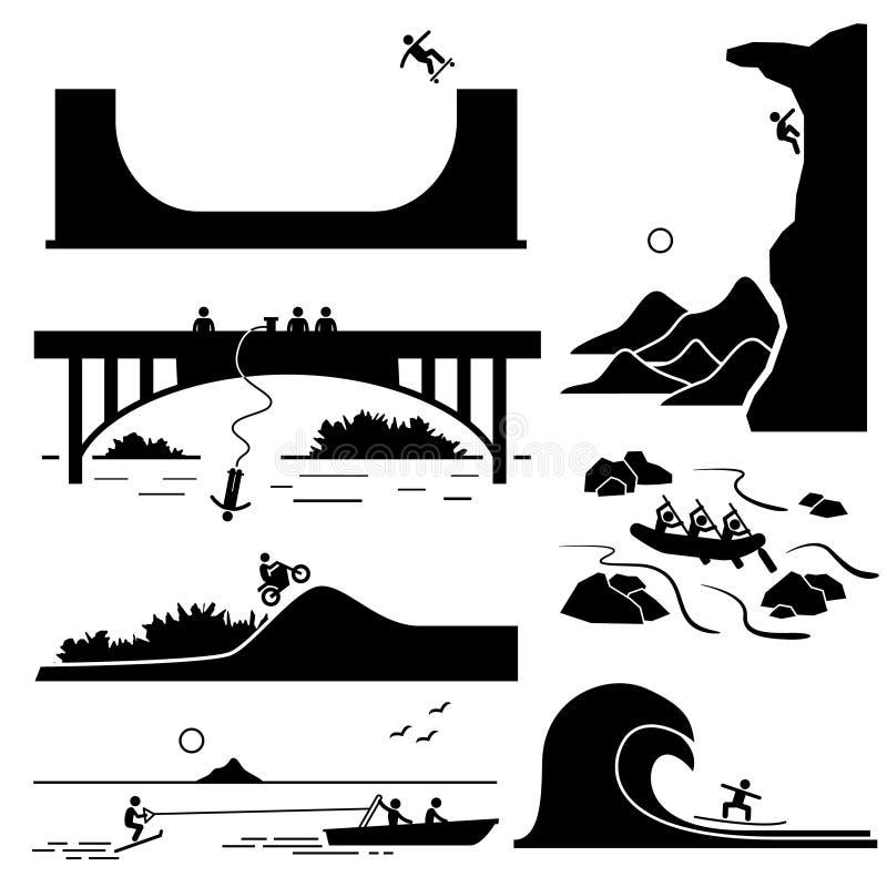 Os ícones extremos Cliparts dos esportes ajustaram 3 ilustração royalty free