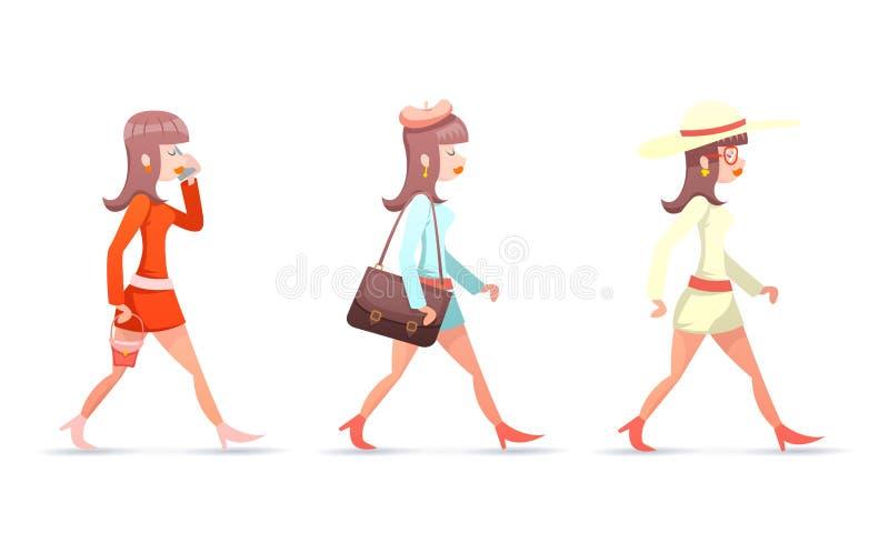 Os ícones fêmeas da caixa do filtro do telefone celular da caminhada do caráter da mulher do vintage da menina do moderno do totó ilustração stock