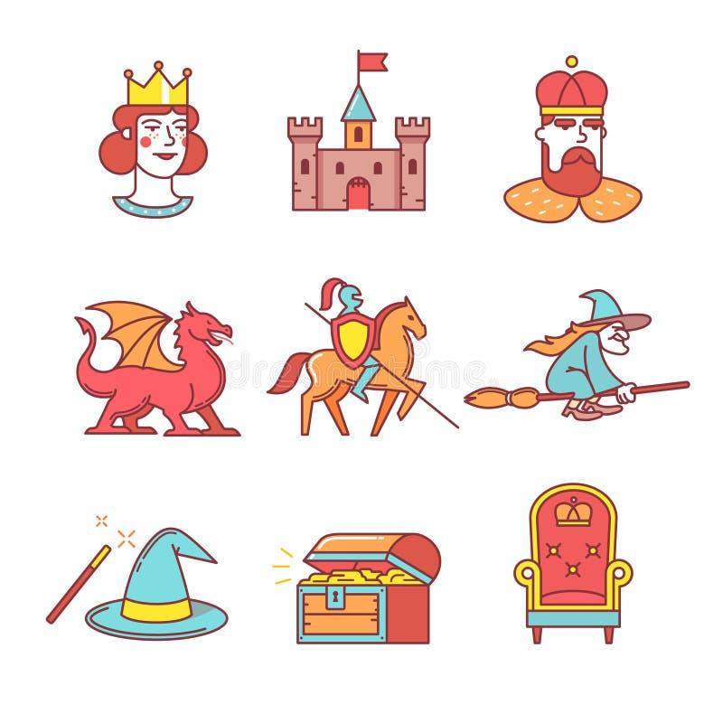 Os ícones feericamente da cauda diluem a linha grupo ilustração royalty free