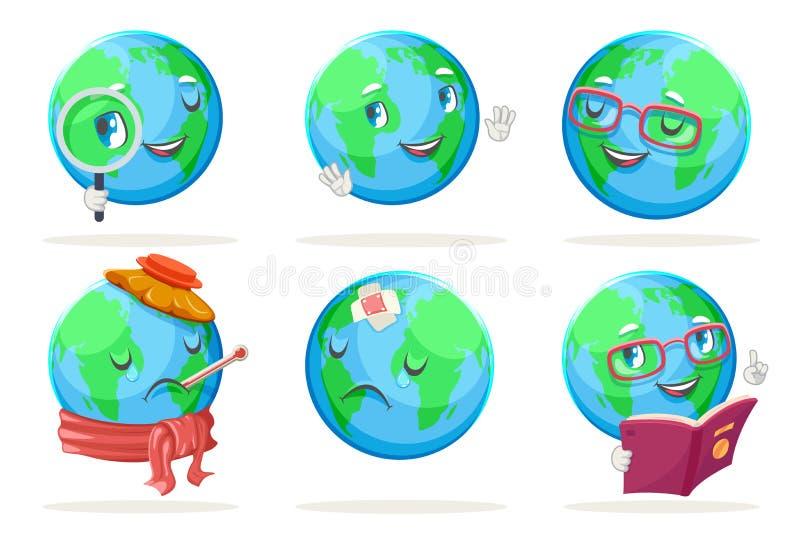Os ícones felizes dos caráteres do globo da terra da natureza da emoção da ecologia ajustaram a ilustração isolada do vetor ilustração royalty free