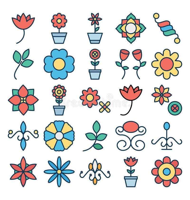 Os ícones florais e da flor do vetor ajustaram-se que podem facilmente ser alterados ou editado ilustração royalty free