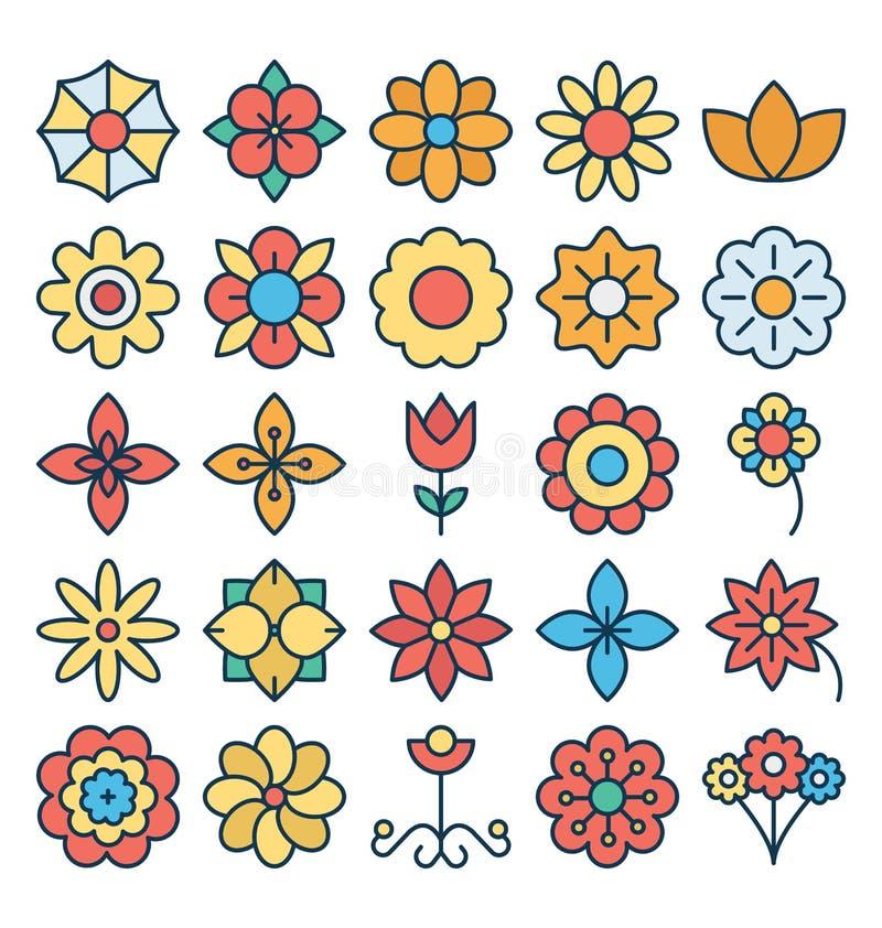 Os ícones florais e da flor do vetor ajustaram-se que podem facilmente ser alterados ou editado ilustração stock