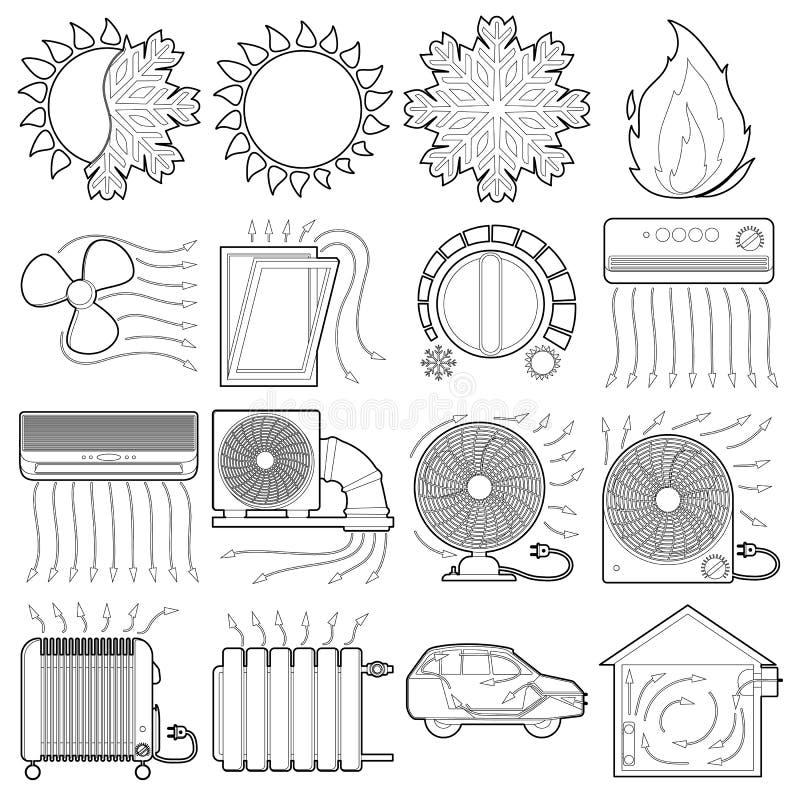 Os ícones frescos das ferramentas do fluxo de ar do calor ajustam, esboçam o estilo ilustração stock