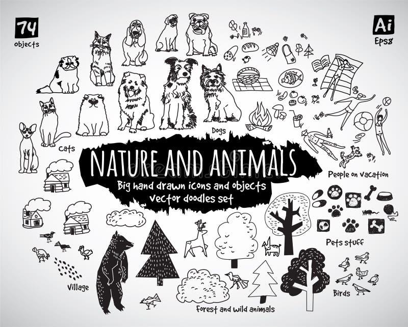 Os ícones grandes das garatujas do animal e da natureza do pacote objetam ilustração stock