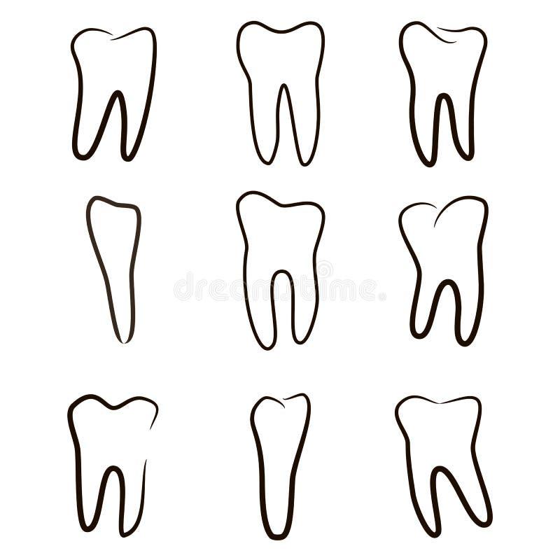 Os ícones humanos dos dentes ajustaram-se isolado no fundo branco para a clínica da medicina dental Logotipo linear do dentista ilustração stock