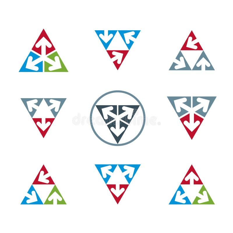 Os ícones incomuns abstratos do vetor ajustaram-se, coleção criativa dos símbolos, ilustração do vetor