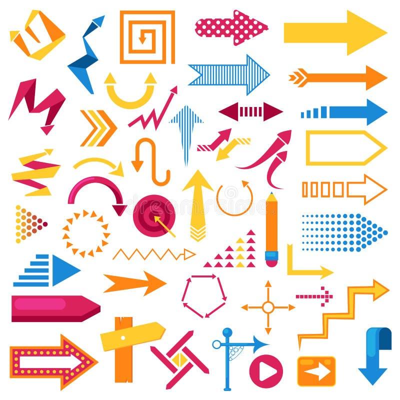 Os ícones infographic do sumário do símbolo da seta do vetor ajustaram o projeto gráfico de negócio da ilustração do sentido do p ilustração stock